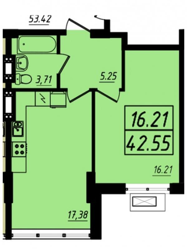 Планировки однокомнатных квартир 42.55 м^2